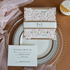 elegant blush pink laser cut wedding invitation with rose gold glitter belly band EWWS146-1