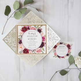 Ivory laser cut floral unique wedding invitations with glittery bottom inexpensive EWWS169-1