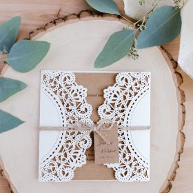 inexpensive rustic laser cut wedding invitation with tag EWWS040-1