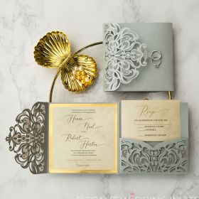silver laser cut with gold mirror backer wedding invitations EWWS177-1