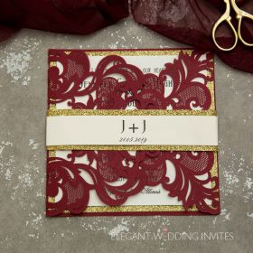 fall burgundy laser cut wedding invitations with gold glittery belly band EWWS180-1