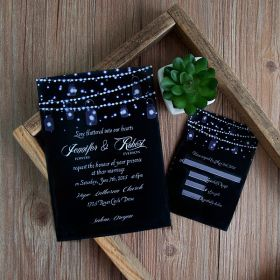 romantic string light mason jar wedding invitation EWI398