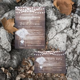 rustic babybreath and stringlights wedding invites EWI426