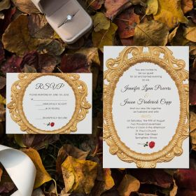 beauty and the beast fairy tale enchanted mirror and red rose wedding invitations EWI427-1