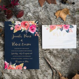 romantic navy blue and floral coral wedding invitation set EWI428-1