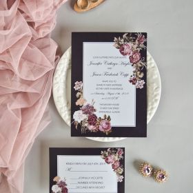 vintage colored border with victorian inspired mauve floral invitation EWI433-1