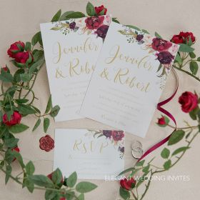 The perfect bouquet- burgundy, blush, and marsala floral wedding invitations EWI440-1