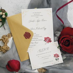 Single red rose inspired by Beauty and the Beast wedding invitation EWI442