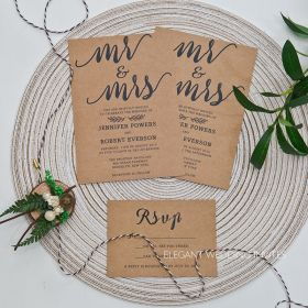 Mr. and Mrs.-kraft paper invitation with Mr. and Mrs. design EWI447-1