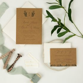 rustic botanical olive leaf wedding invitation printed on kraft paper EWI452-1