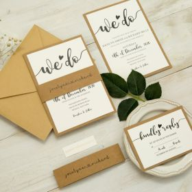 """we do"" wedding invitation with kraft paper backer and belly band EWI453-1"