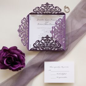affordable purple laser cut wedding card EWWS056-1