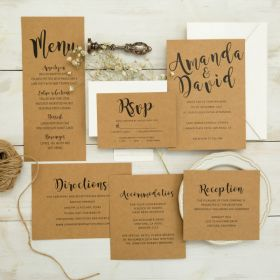 modern earth toned kraft wedding invitation suite EWI455-1
