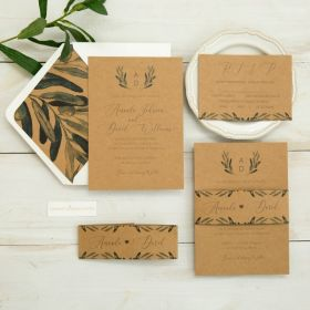 rustic green florals on earth toned kraft paper with belly band EWI456-1