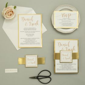 modern invitation set on a gold mirrored paper backer with personalized tag EWI457-1