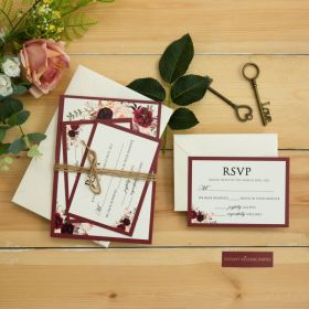 rustic floral print wedding invitation with burgundy pearlescent backing card and twine EWI460-1