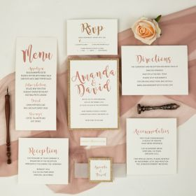 modern rose gold wedding invitation with matching glitter paper backer and tag EWI461-1