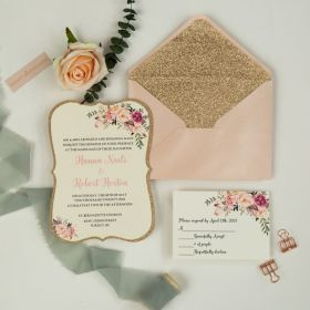 exquisite spring pink floral layer wedding invitation in bracket shape with rose gold glitter paper backer EWI463-1