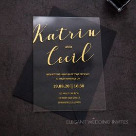 clearly about us-modern style acrylic wedding invitation thickness 2mm EWIA006