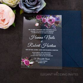 clear for florals-acrylic wedding invitation thickness 2mm with florals in purple tones EWIA007
