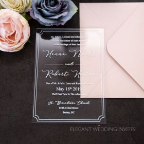 our love is clear-acrylic invitation thickness 2mm with border and modern styling EWIA008