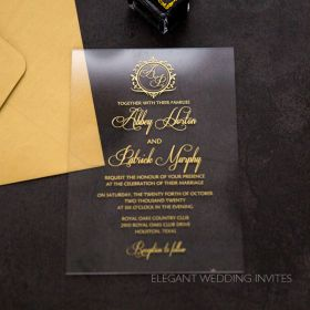 clearly regal-acrylic wedding invitation thickness 2mm with regal crest monogram EWIA010