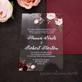 clearly bouquets-moody blush and burgundy flowers acrylic invitation thickness 2mm EWIA011-1