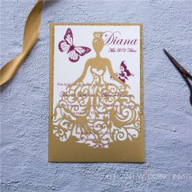 the sweet 16 gold shimmer princess laser cut invitation with gold glittery backer EWIB001