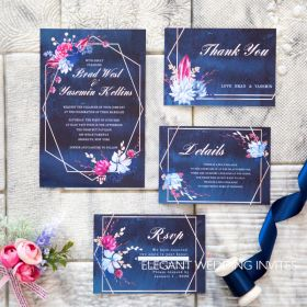 moody navy watercolor floral wedding invitation with geometric frame EWID001