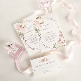 geometric blooms-pink florals and geometric pattern wedding invitation EWIM001-1