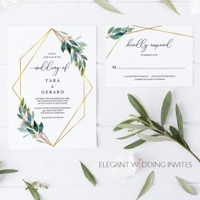 geometric wisps-invitation with geometric pattern and greenery EWIM003-1