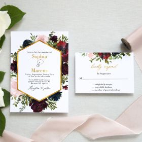 invitation with geometric pattern and burgundy, blush, and marsala blooms EWIM005-1