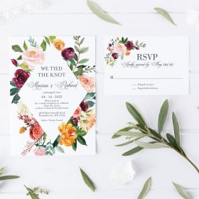 garden mounds – wedding invitation with geometric pattern and bright flower blooms EWIM006-1