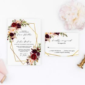 peony perfection – wedding invitation with geometric pattern and burgundy and blush floral EWIM007-1