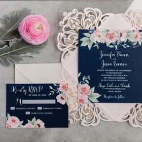 navy and blush pink floral watercolor wedding invitation with pink laser cut wrap EWDK002-1