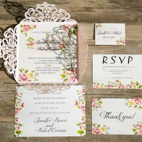 blush pink laser cut floral wedding invitations EWWS064-6