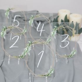 Wedding Table Numbers-Acrylic Table Numbers with Modern Geometric Gold Frame Greenery EWSGT013-1