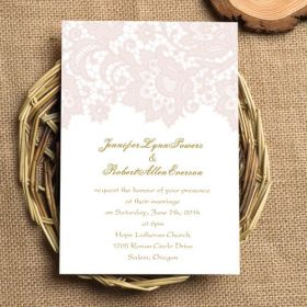 cheap romantic blush pink lace wedding invitations EWI327