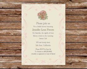 vintage pink flower printable invitations for bridal shower EWBS008