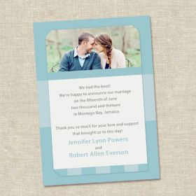 Affordable Blue Spring Photo Wedding Announcements EWA011