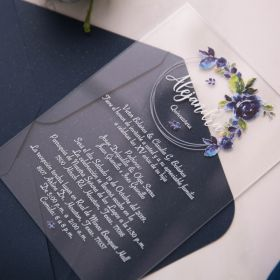 raised uv printing technology on clear acrylic thickness stock with beautiful blue blossoms on a modern wreath EWIA005-1