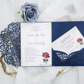 Beauty and the beast navy blue laser cut pocket wedding invitation suites EWWS197