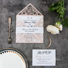 classic unique blush pink rose laser cut wedding invitation suite EWWS199