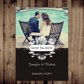 Cheap black and white save the date with photo EWSTD041-2