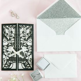 Paris at Night-Black Glittery Laser Cut Wrap with Eiffel Tower Pattern and Bow EWWS250