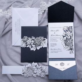 black shimmer pocket wedding invitations with floral laser cut belly bands and inside cards EWWS231