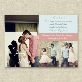 Creative Pink and Blue 3 Picture Wedding Announcements EWA005