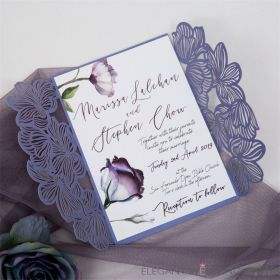 Blue flowers with lavender laser cut wedding invitations EWDB001-1