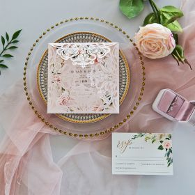 Blush Laser Cut Fold with Blush Floral Wreath Pattern on Invitation EWDA001-1