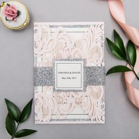 elegant upscale blush and silver glittery laser cut wedding invitation kits with belly bands and tags EWWS233